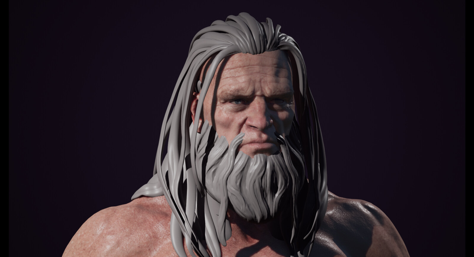 Skin test in Unreal. Hair and beard meshes are temp blockouts for future hair cards.