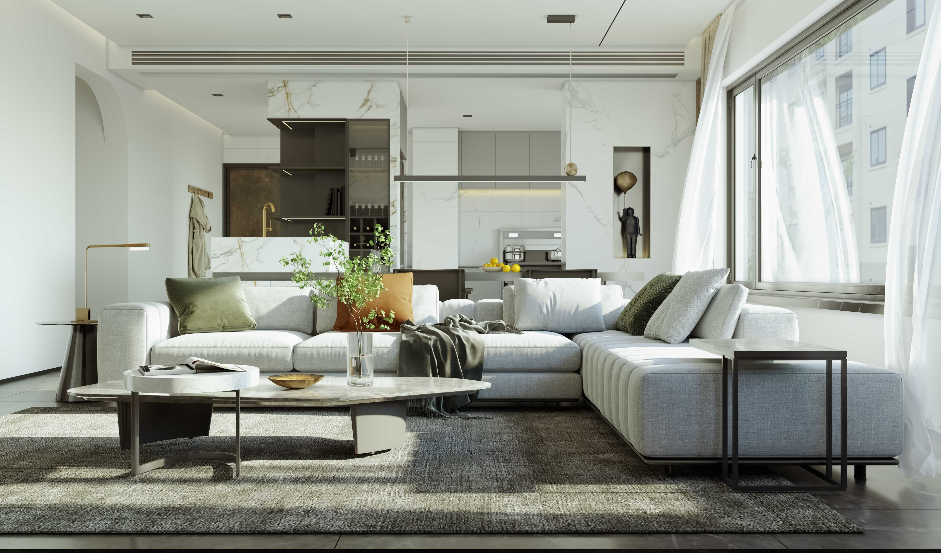 Living Room Afternoon Light Study 3ds Max V-Ray Photoshop Asset: 3dBrute Materials and Lighting Rendering Lente Scura 5SRW - Learning V-Ray Method