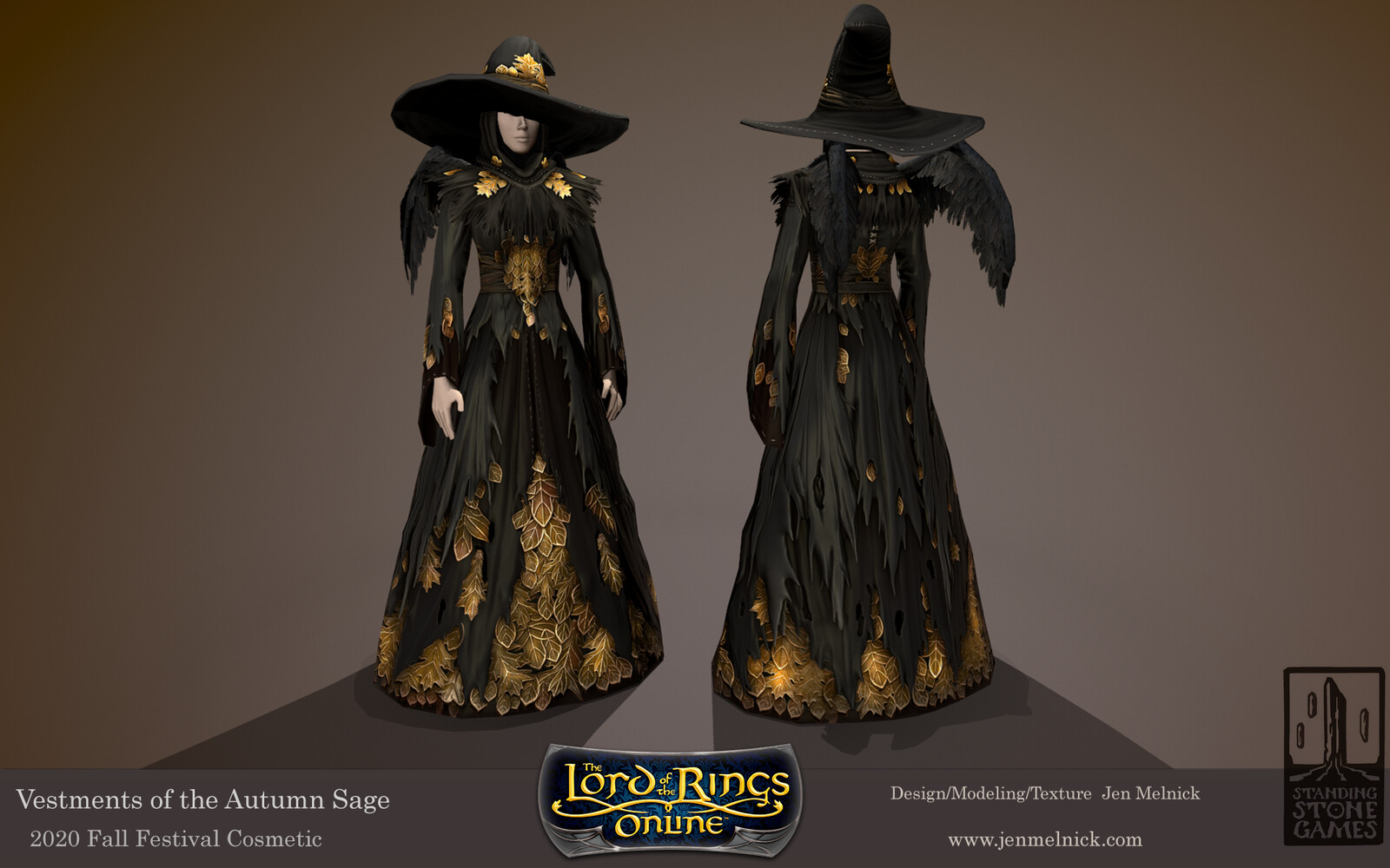 Lord of the Rings Online Vestments of the Autumn Sage Fall Festival 2020 Dress, Shoulders, and Hat are all dyeable Back wings are alternate cosmetic for the set to replace the cloak