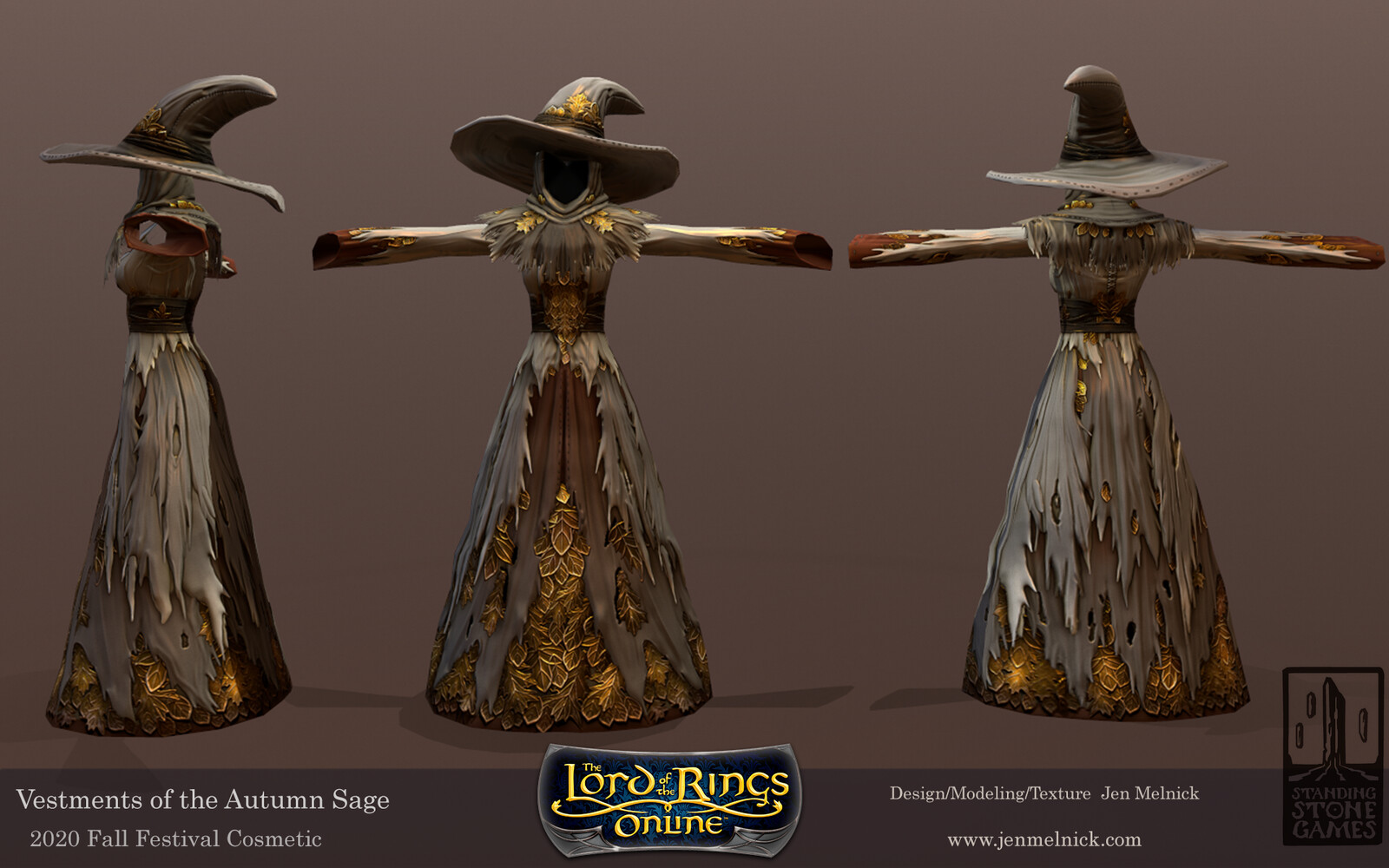 Lord of the Rings Online Vestments of the Autumn Sage Fall Festival 2020 Dress, Shoulders, Hat, and Cloak are all dyeable Undyed(Base) Textures