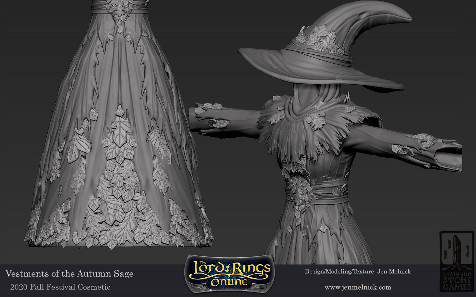 Lord of the Rings Online Vestments of the Autumn Sage Fall Festival 2020 Dress, Shoulders, and Hat sculpts