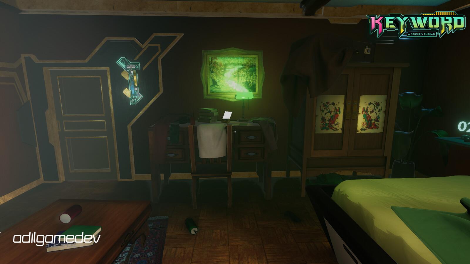 Bedroom showing desk I worked on
