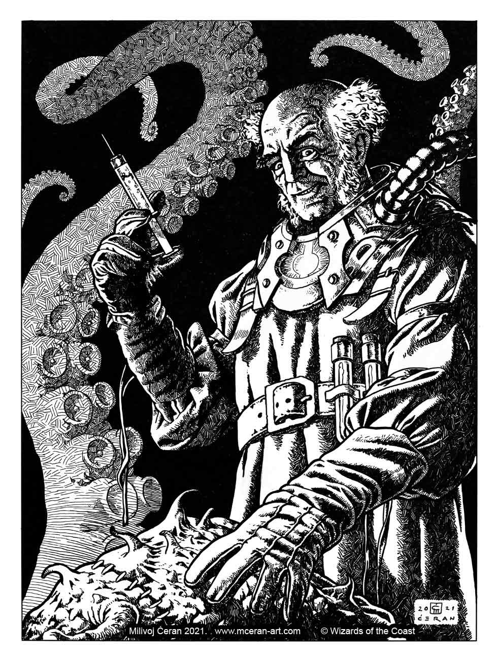 """""""Ludevic, Necrogenius"""" - variant card, Milivoj Ćeran 2021. - 40 x 29 cm cm (15,7 x 11,4 inches) - archival ink on paper (Fabriano 5, 300 gsm) - AD: Crystal Chang - Magic the Gathering, set: """"Innistrad: Midnight Hunt"""" - © Wizards of the Coast"""