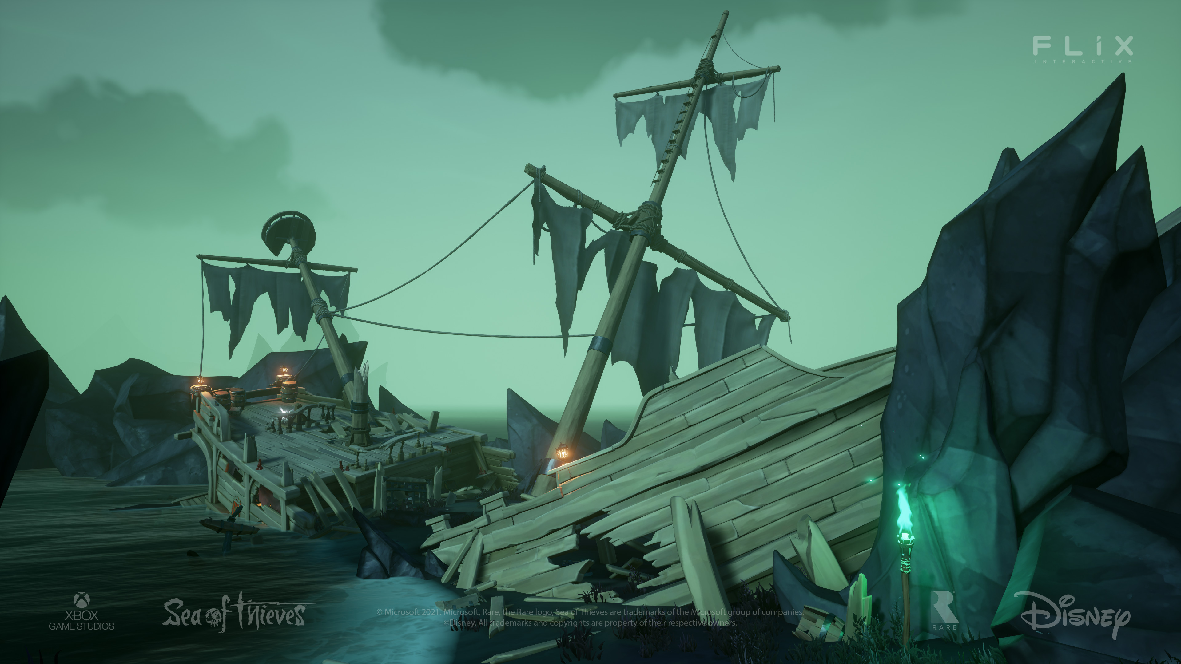 One of the first locations I got to work on, I did the initial work to create this Shipwreck area and it was built on by other artists.