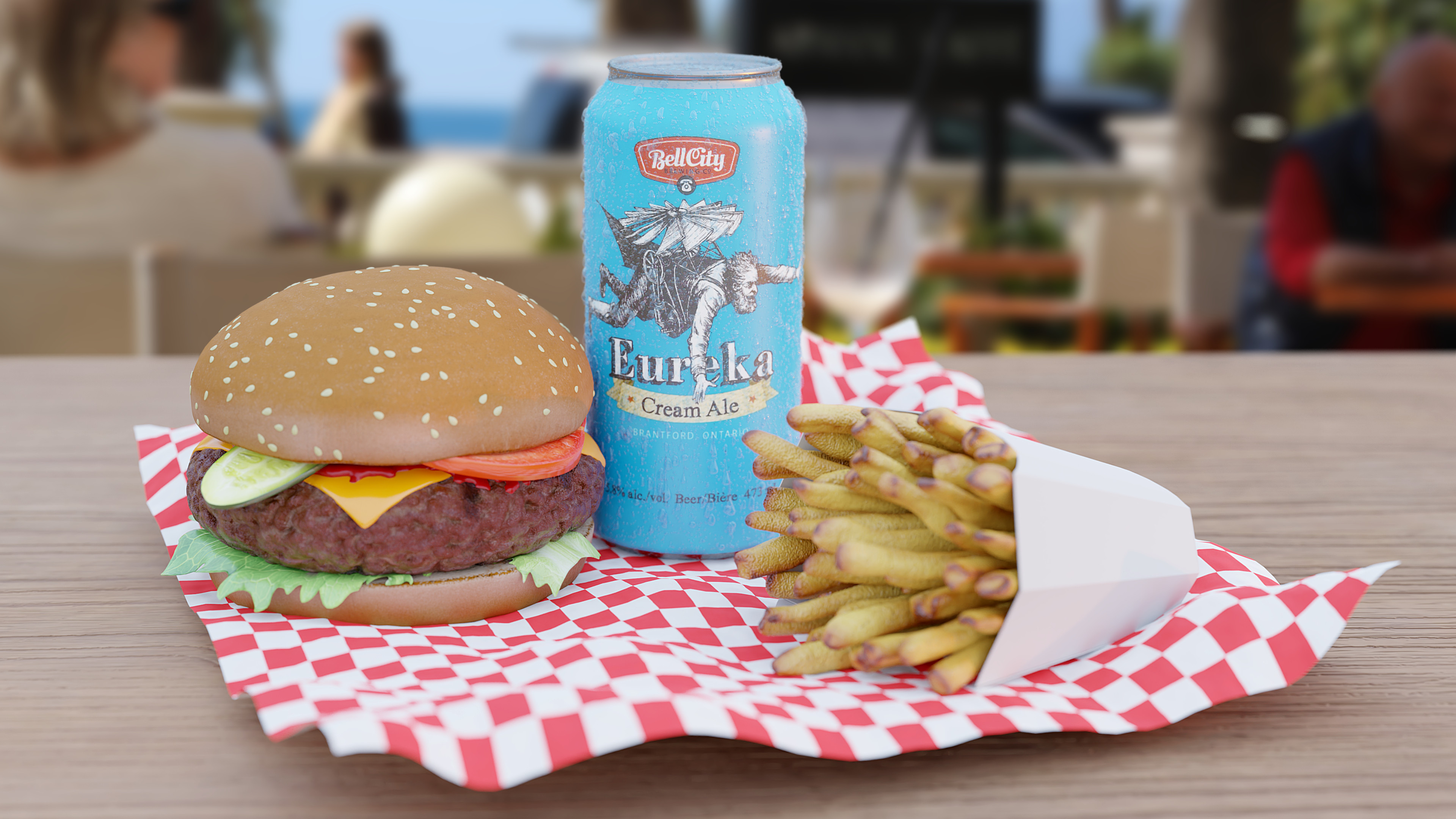 Eureka beer and burger with fries!