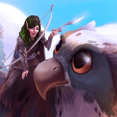 Elf and owlbear