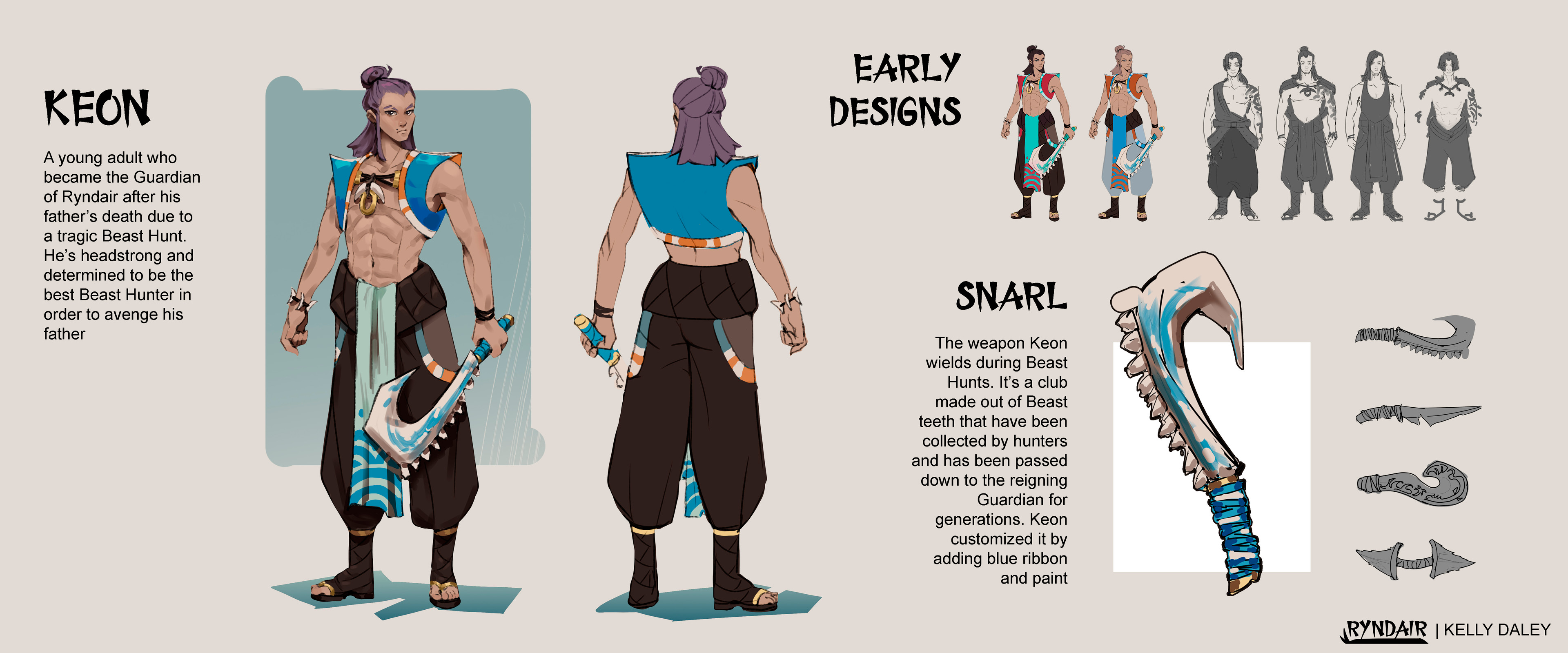 """Keon Character Sheet. I wanted his design to be simple and memorable in the case that if someone saw him for a split second, they could say """"OH he has a purple hair! A small blue vest with a crest! A hook weapon!"""""""