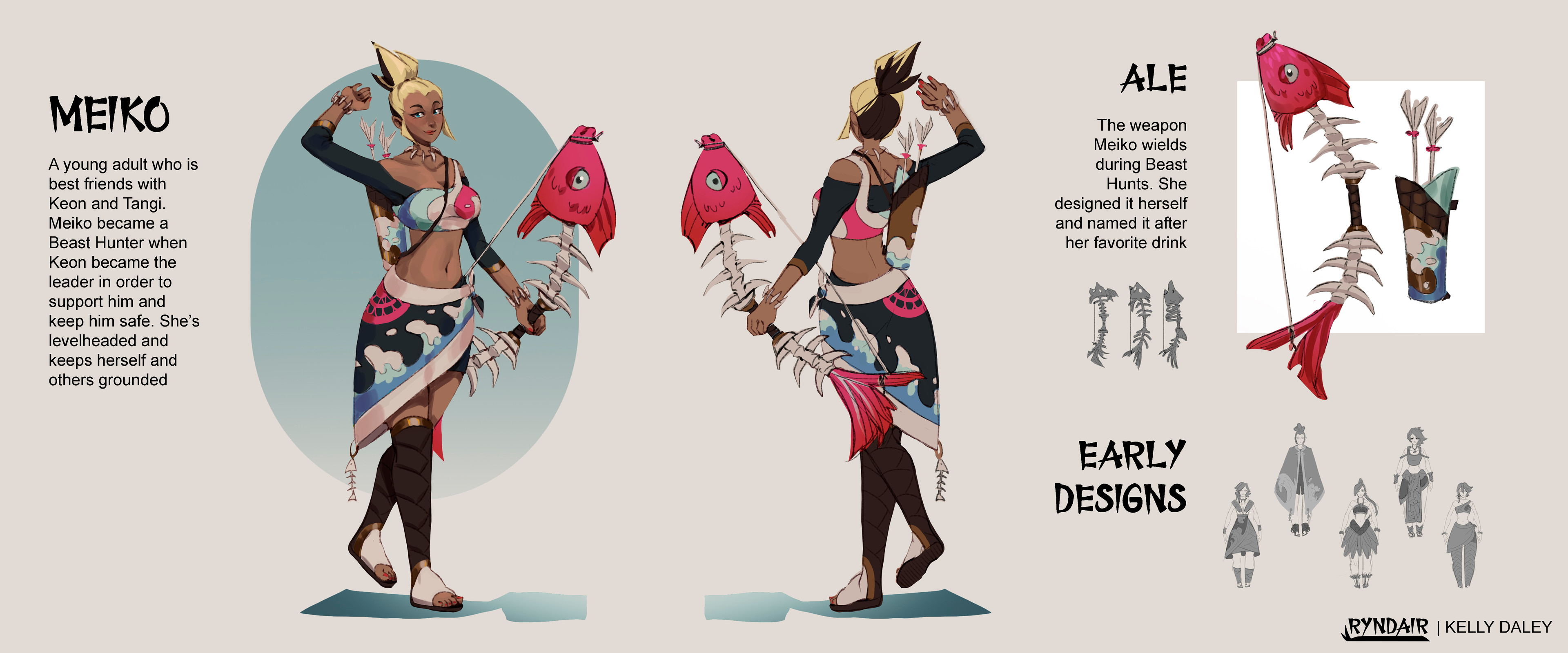 Meiko Character Sheet. My goal with Meiko was to create a pretty but badass design. I achieved that through bold colors and sharp shapes. She also has the most skin coverage out of the trio out of her dislike for the sun.
