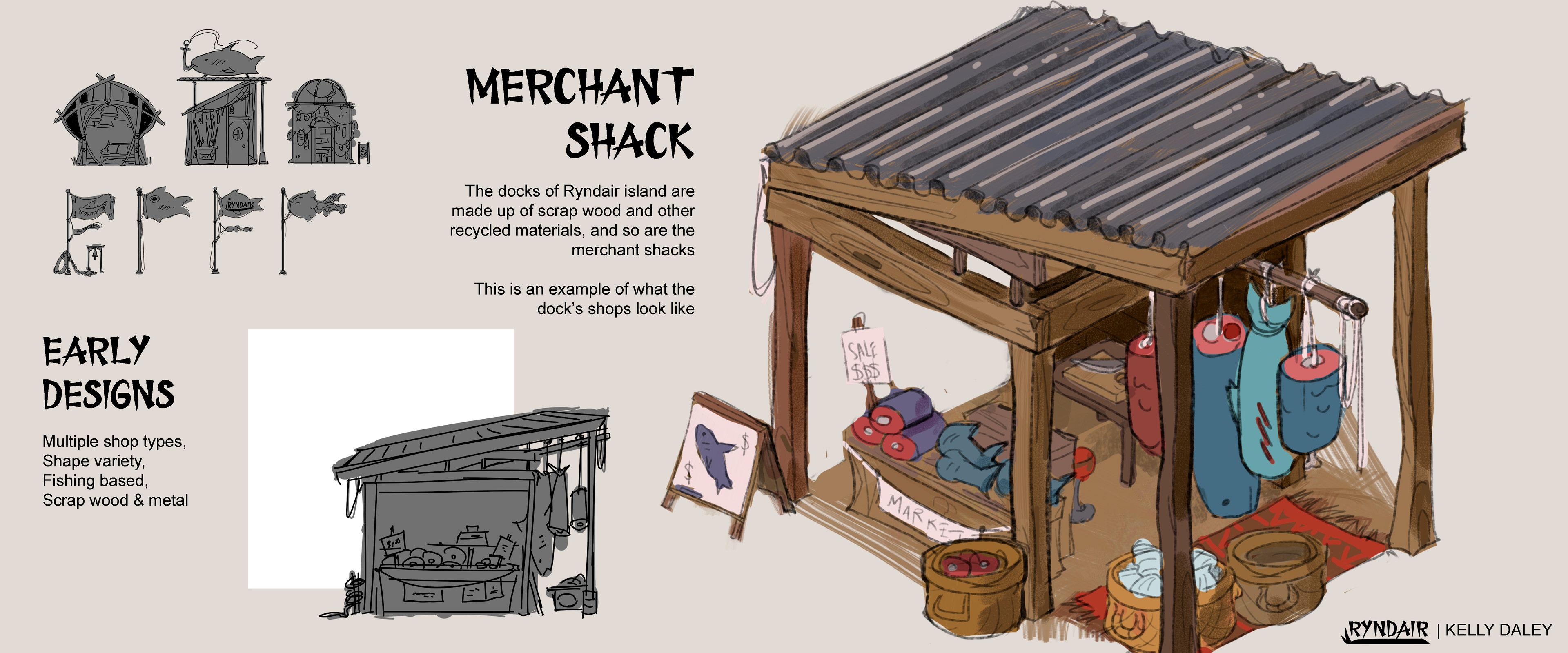 Design of a Merchant shack on one of the MANY piers.