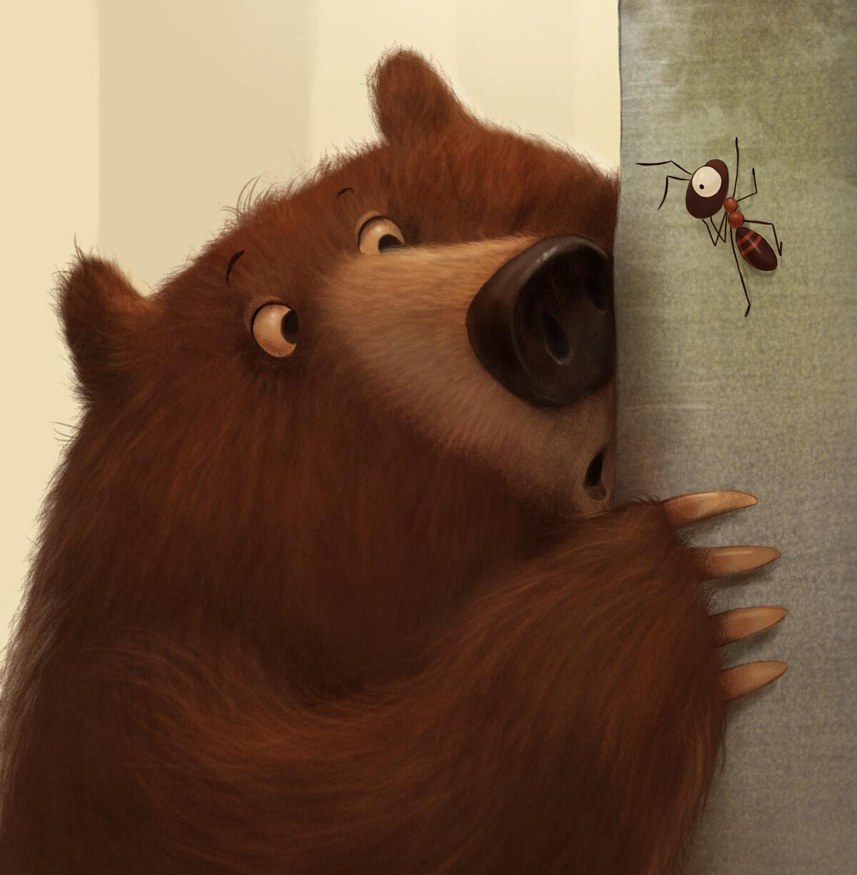 A bear and an ant