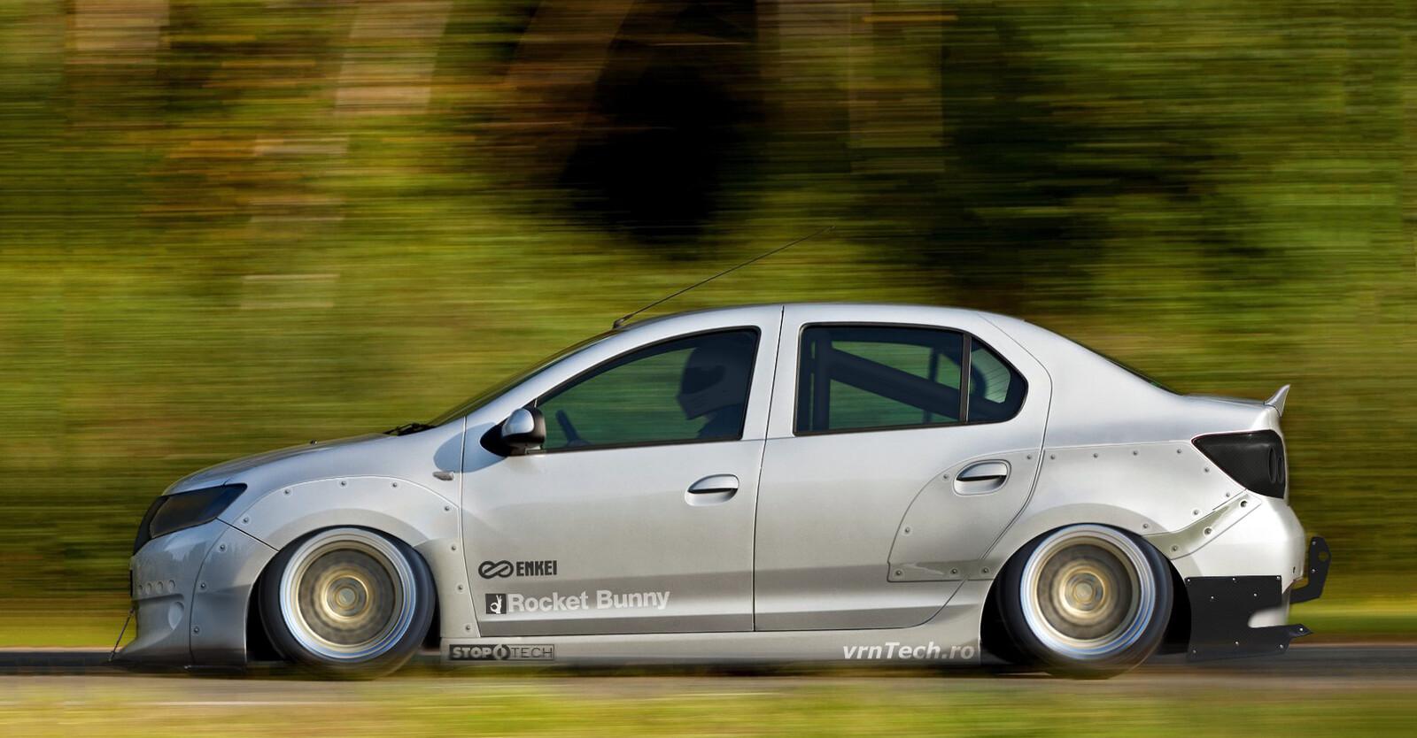 A Dacia Logan with the usual Rocket Bunny treatment.