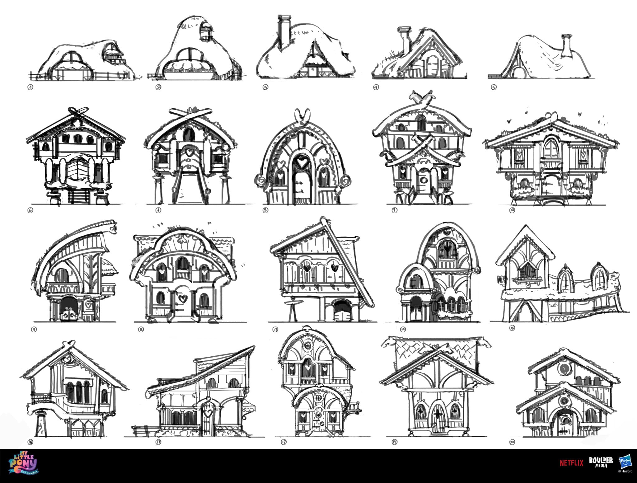 Very early architecture exploration for the earth ponies. Those are some of the first sketches I did!