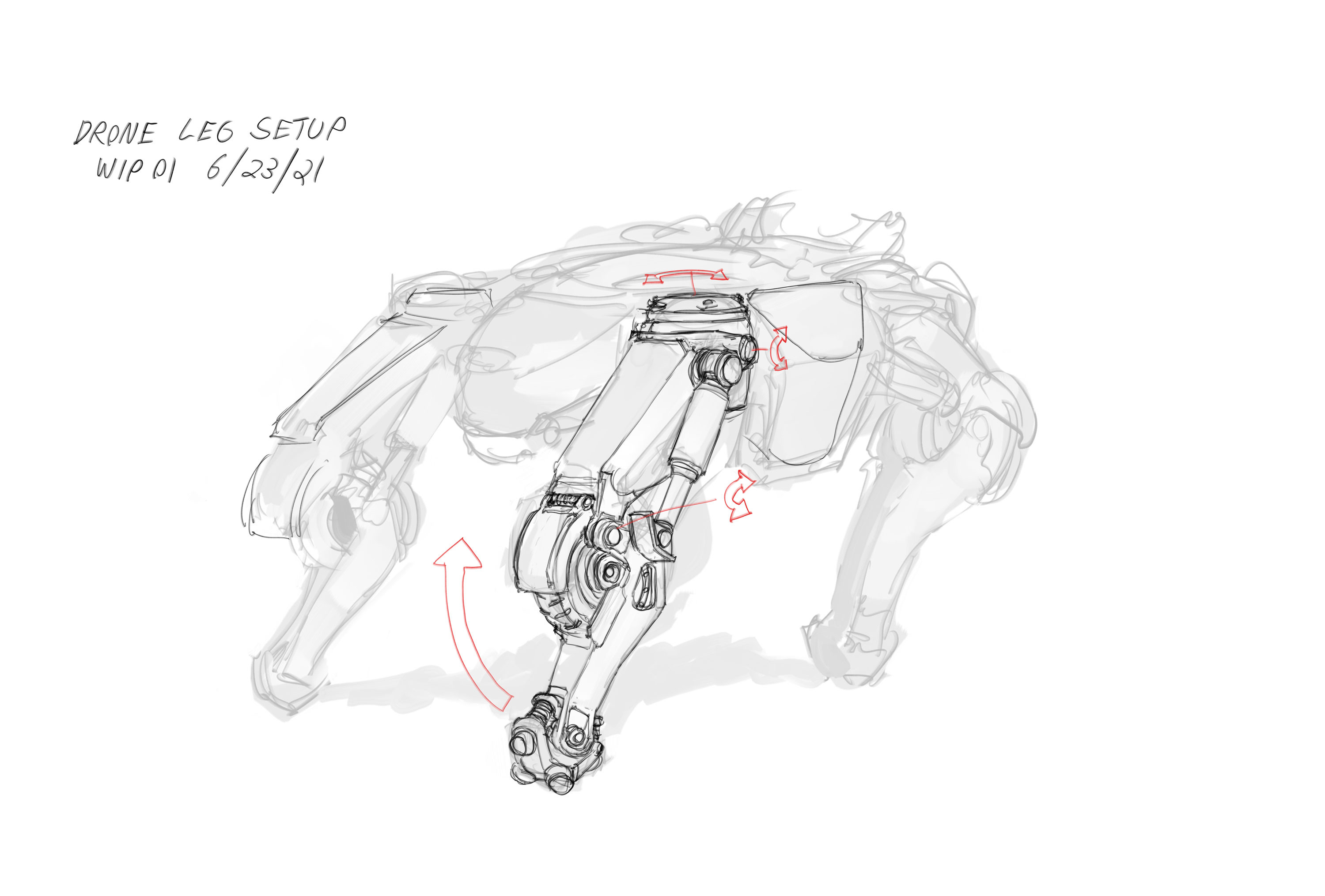 The legs convert between walking and rolling so the leg setup was iterated upon based on feedback.