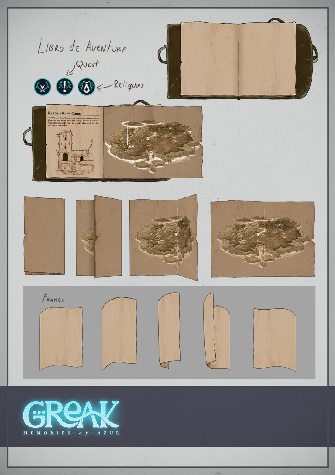 for the final art I made small redesigns of the book and added some more details, not so much of a change but approaching to the end of the project we were readjusting some assets to match the details of the game