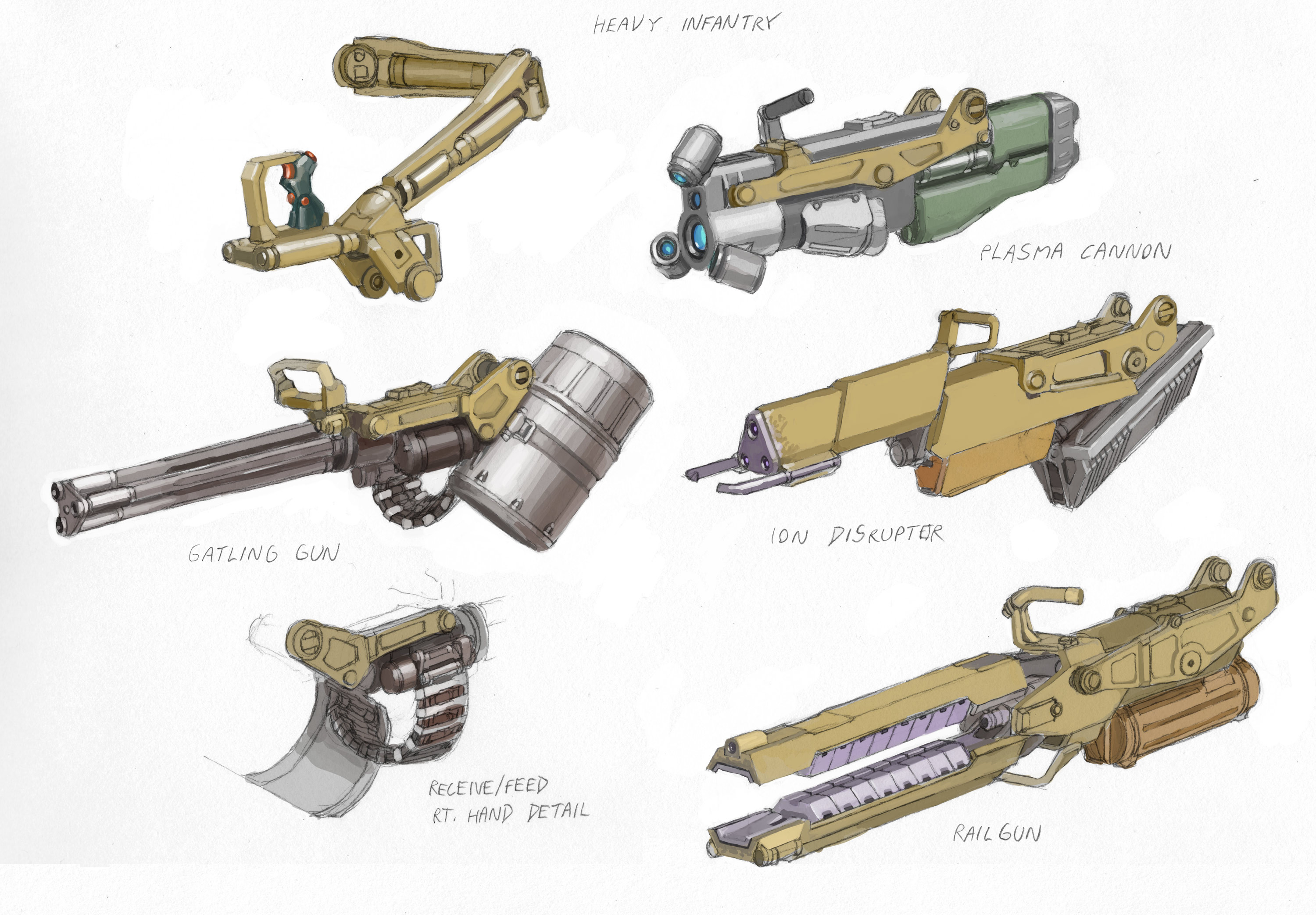 Associated weapon designs for the full range of powered infantry.