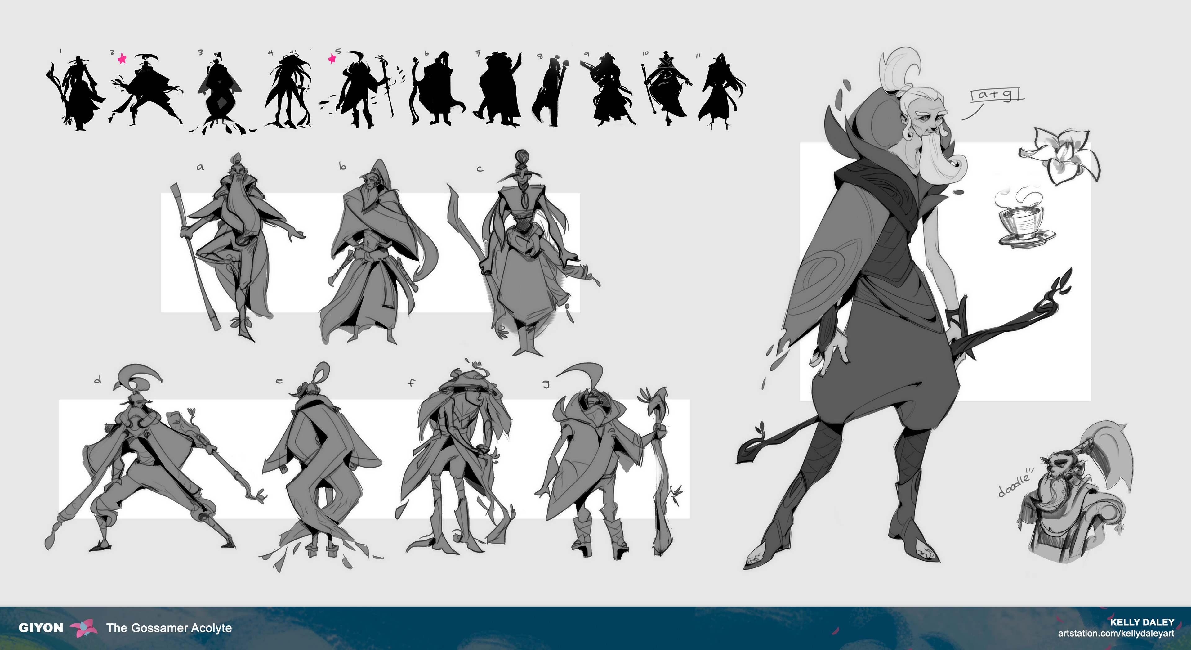 THE FIRST exploration sketches of Giyon. I began with silhouettes because I was truthfully scared of starting. Once I felt more confident, I began taking those silhouettes and exploring with line. These felt both too extreme and basic at the same time.