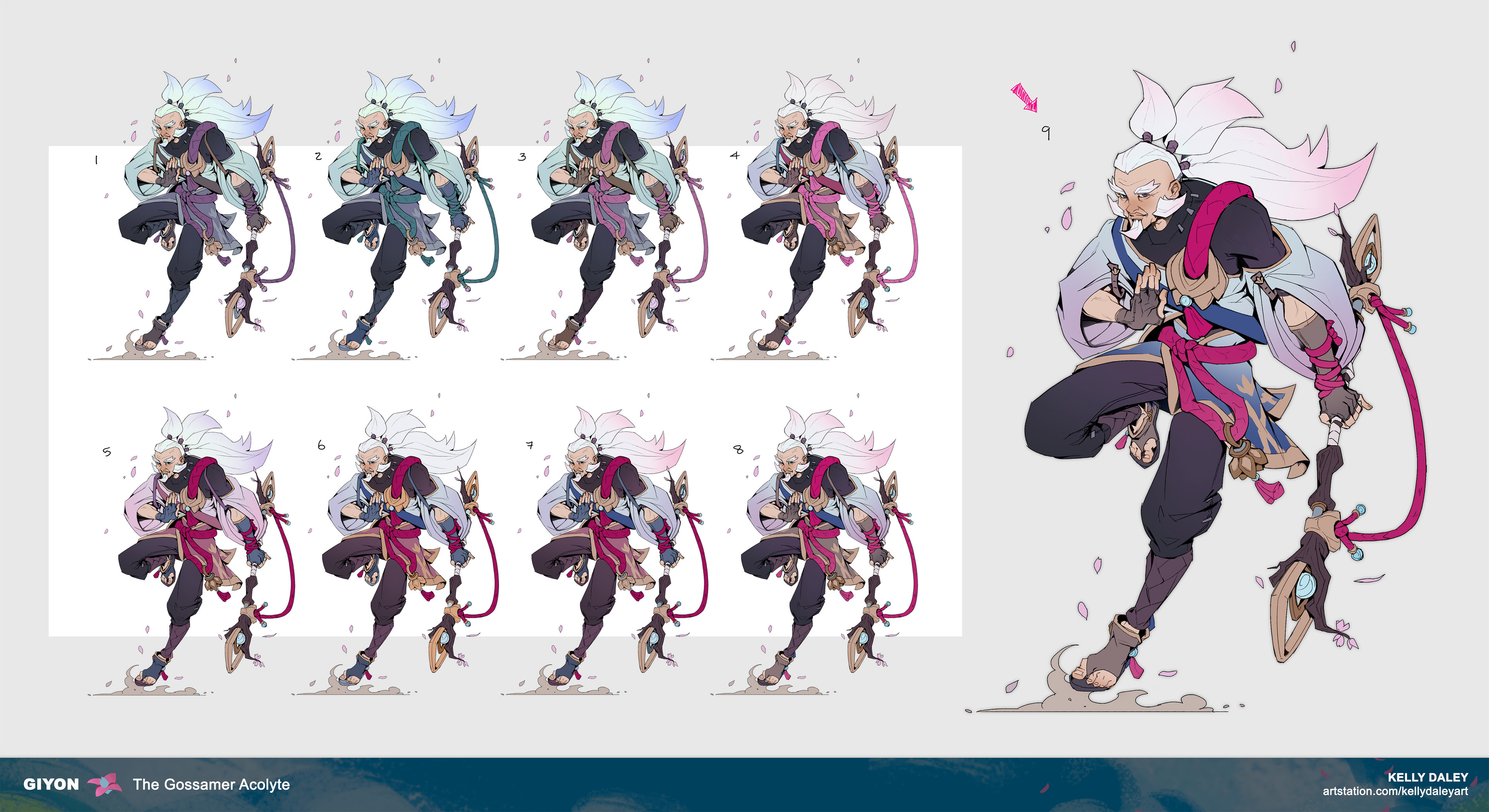 Color exploration. I had a general idea of the color palette he would have. I knew it would be an earthy base combined with sky+cherry blossom colors. Again, I kept the value gradient the same for the sake of readability in a MOBA setting.