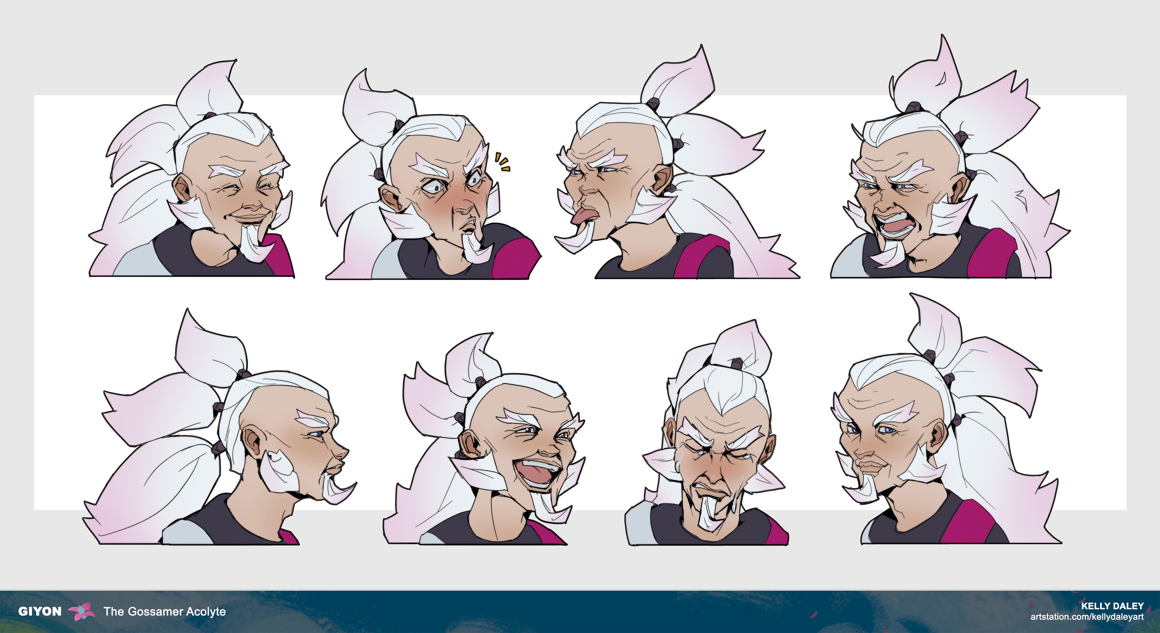 Expression exploration! This was fun especially because I already knew who GIyon was as a person. I could easily envision him making each of these faces because I did the early brunt work of solidifying his personality.