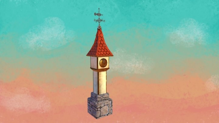 Low Poly Sundial Tower