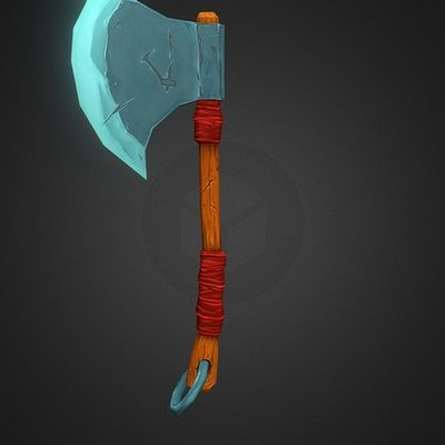 Handpainted lowpoly axe