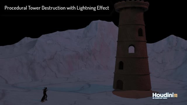 Procedural Tower Simulation using RBD and Lightning Particle FX