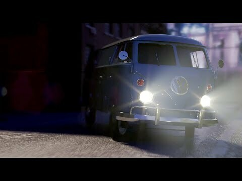 VW Bus At Night