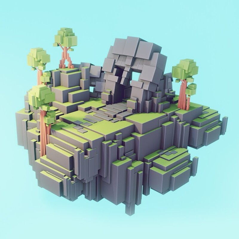 LOWPOLY Cube Worlds #5 | Flat Shading | Blender Speed Modeling | Concept Art | 3d Environment Design