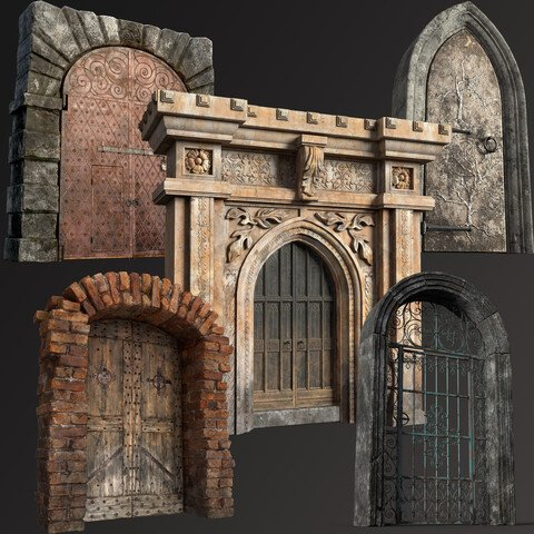 Five Medieval Doors with Arches 3D Low-poly Model Collection