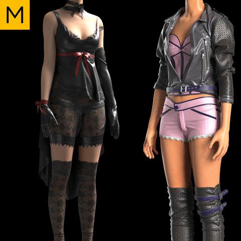 Pack-Womens clothing. Marvelous Designer, Clo3d project + OBJ/FBX files. Standard avatar MD&CLO.