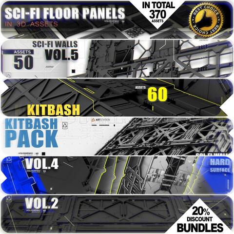 370 Sci-fi walls assets_Kitbash Bundles
