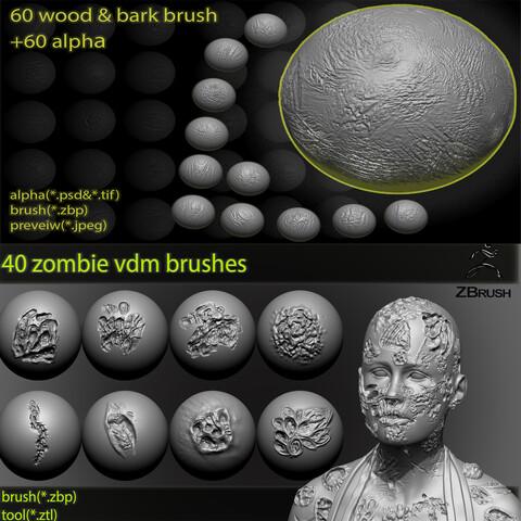 100 zbrush brushes / 60 tree and bark brushes + 40 zombie and monester vdm brushes