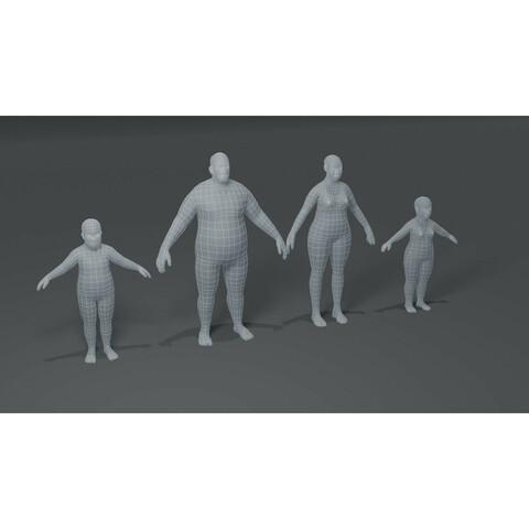 Fat Body Base Mesh 3D Model Family Pack