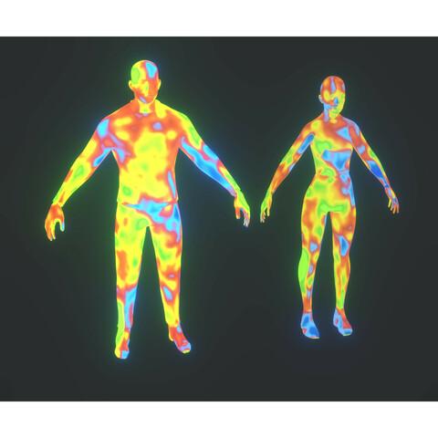 Human Body Thermal Image Heatmap 3D Model Bundle