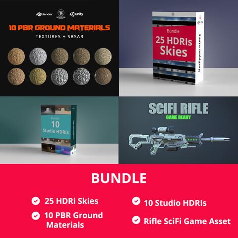 Bundle HDRi Skies + HDRIs Studio + PBR Materials + Rifle SciFi Game Asset