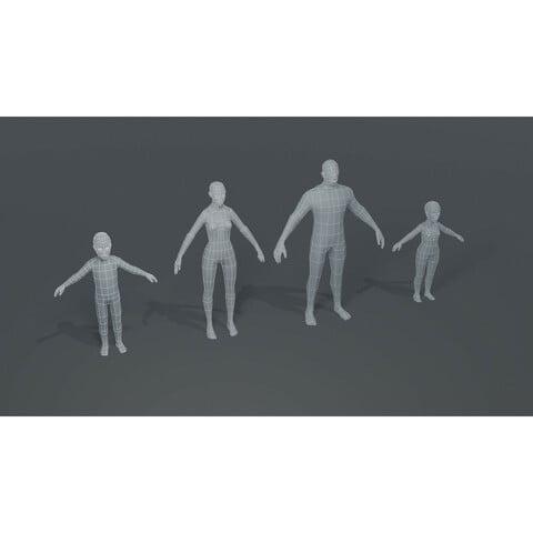 Human Body Base Mesh 3D Model Bundle 1000 Polygons