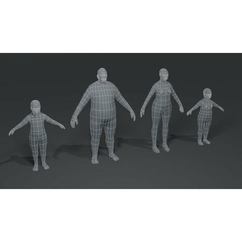Fat Human Body Base Mesh 3D Model Family Bundle 1000 Polygons