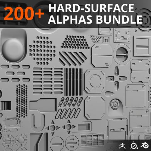 200+ Hard-Surface Alpha Bundle - Pack 01 - 02 (Single User)