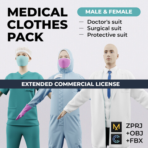 Medical clothes pack (male & female) | Extended License