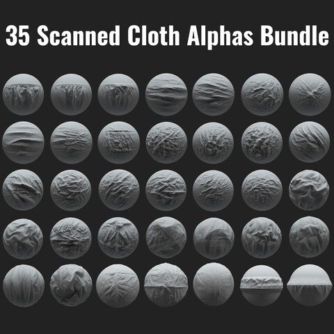 35 Scanned Cloth Alphas Bundle | Realistic Detailed Wrinkles for ZBrush, Blender and Mudbox
