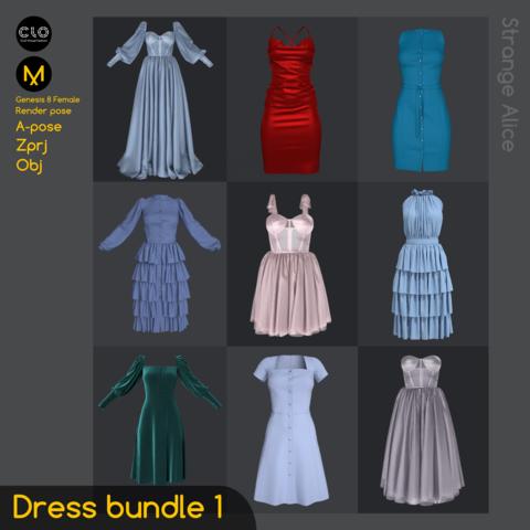 Dress bundle 1. Clo3d, Marvelous Designer projects.