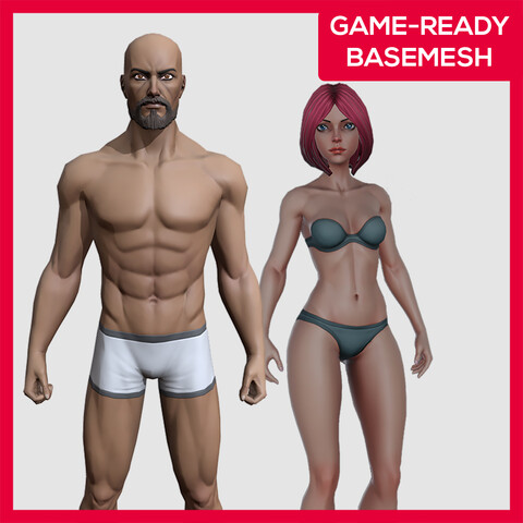 Stylized Base mesh Character Pack - Female and Male Rigged Characters