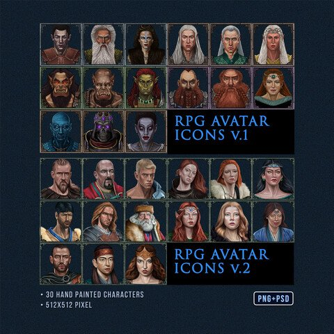 RPG Character Avatar Icons Pack