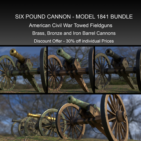 Six Pound American Civil War Cannon Bundle - Model 1841
