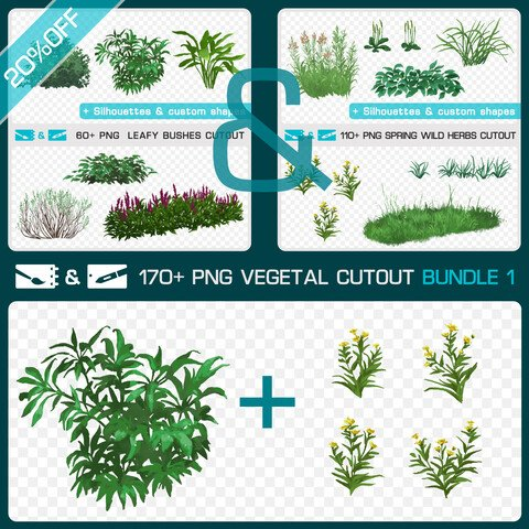 VEGETAL CUTOUT BUNDLE 1 - Traditional and numeric painting pack - 170+ PNG & FREE Silhouettes + Custom Shapes