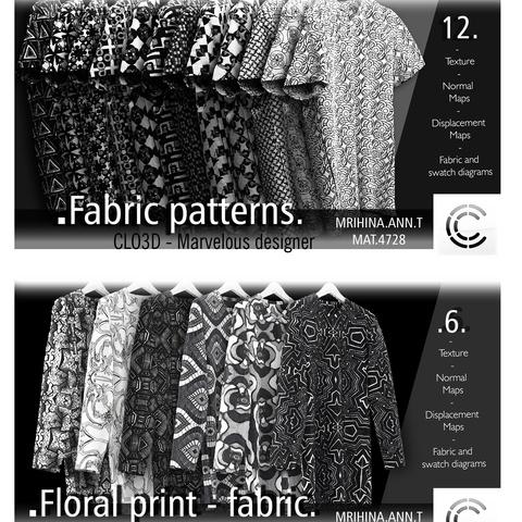 .Graphic prints. Clo3d, Marvelous Designer.