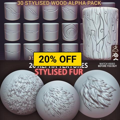Stylised WOOD & FUR alpha textures - Zbrush, Blender & Substance | Alpha Pack | Alpha Texture Pack