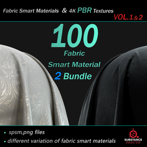 100 High Quality Fabric Smart Material Bundle + 4K PBR Textures
