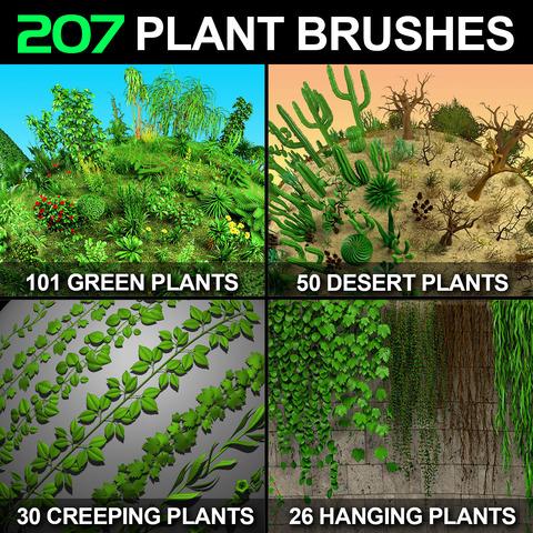 207 Plant Brushes for Zbrush