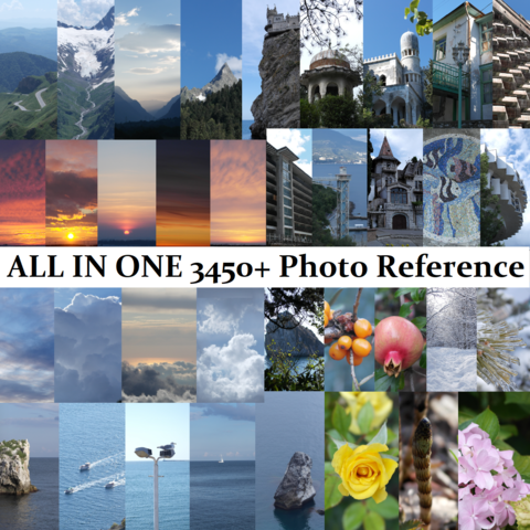 4450+ Photo Reference Pictures. Includes all listed bundles: Water+Air+Earth+Flora+Architecture. ALL IN ONE! Standard License