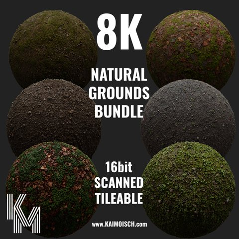 Natural Grounds Bundle 8K | 6 Scanned Materials